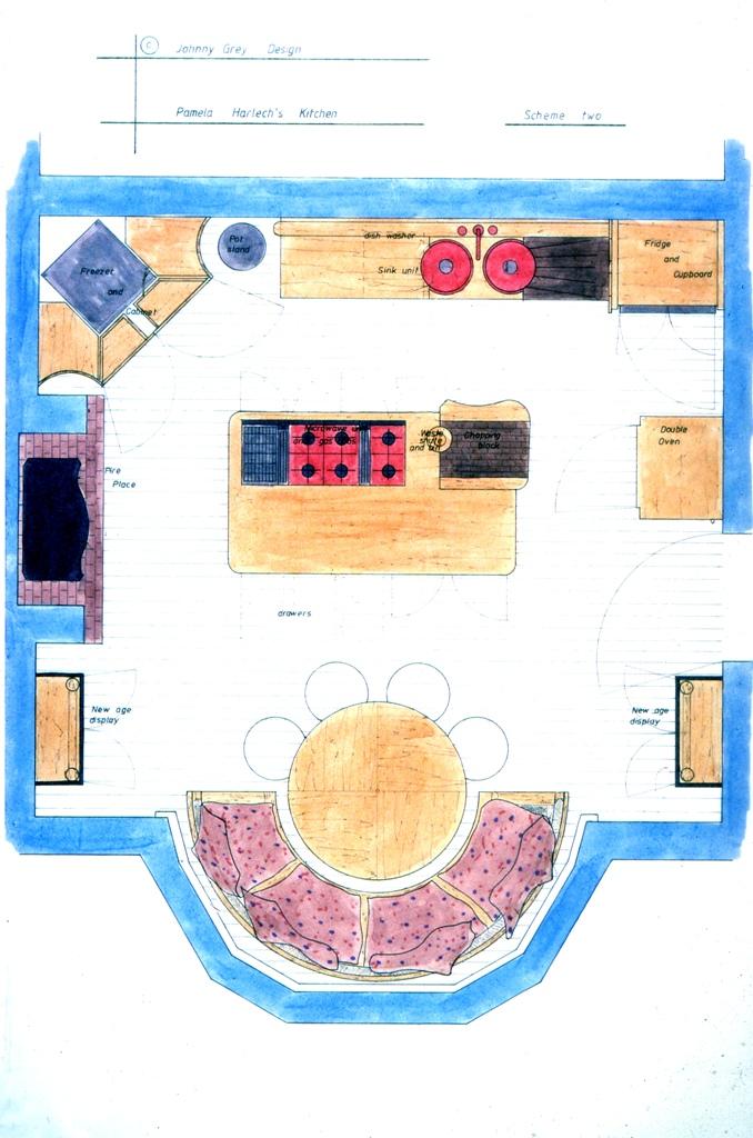 Lewis Design London - Pamela Harlech Kitchen Plan