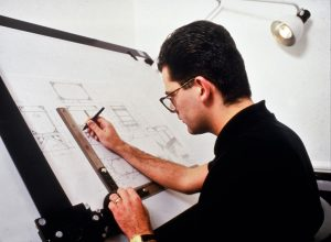 Mark Lewis at drawing board