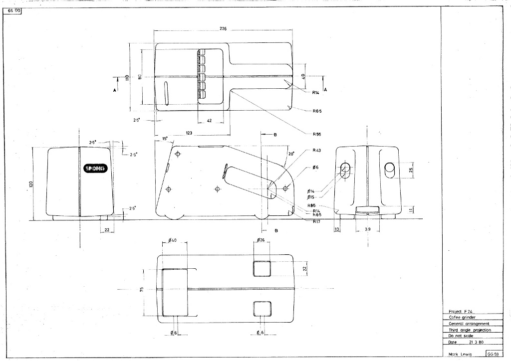 Lewis Design London - Coffee Grinder Drawing (1)