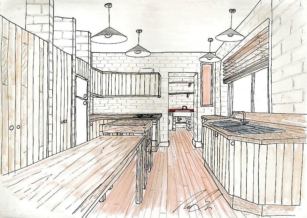 Lewis Design London - Japanese Kitchen Drawing
