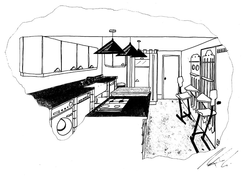 Lewis Design London - Post Modern Kitchen Drawing