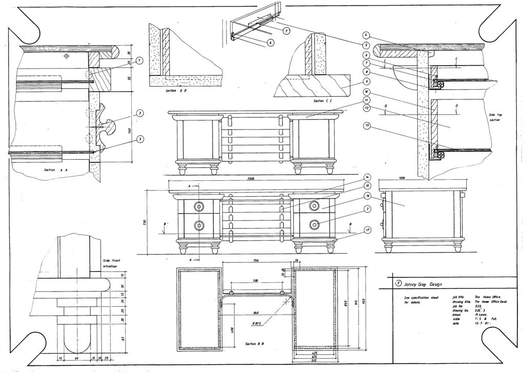 Lewis Design London - The Home Office Collection Drawings - Desk (1)