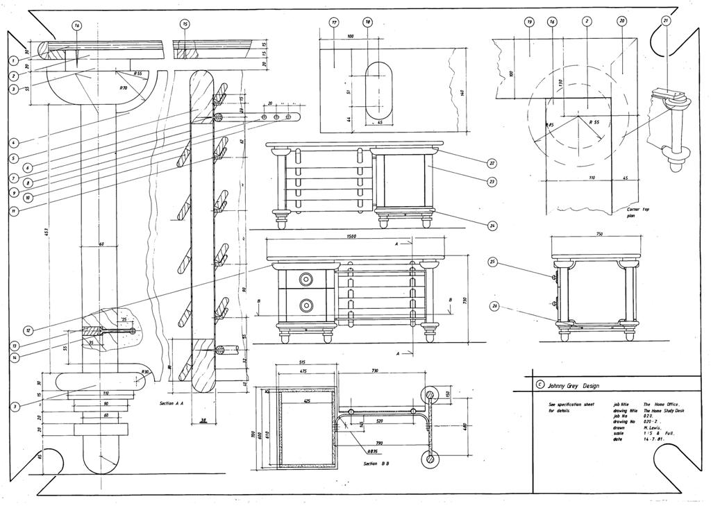 Lewis Design London - The Home Office Collection Drawings - Desk (2)