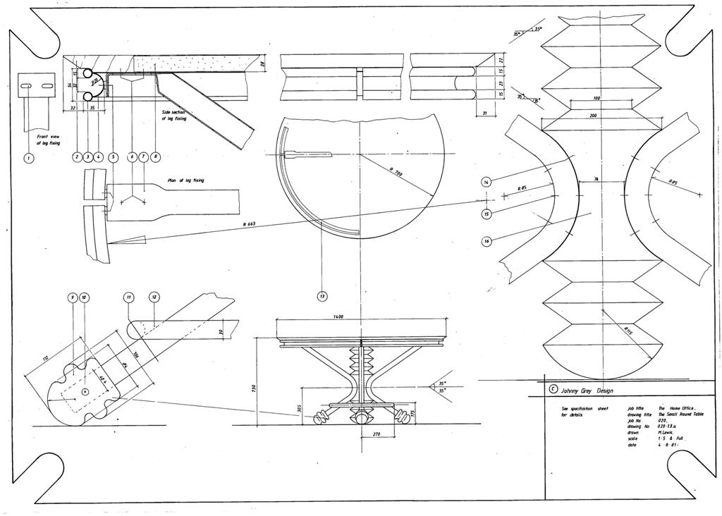 Lewis Design London - The Home Office Collection Drawings Table - Round (2)